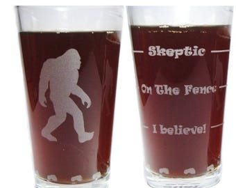 Bigfoot Sasquatch Drink 'Till You Believe - Engraved Beer Glass - 16 oz - Permanently Etched 360 Degrees around Glass - Fun & Unique Gift!