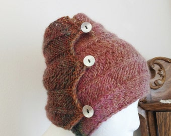 PODA - Messy Bun Wrap Hat - Winter Headband. Headband, headwrap, bun hat, women's fashion, winter, boho, button, high ponytail, chevron