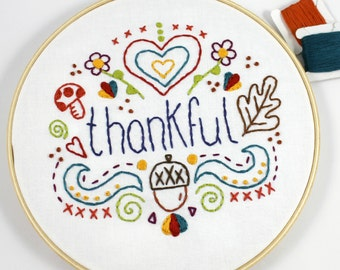 Thankful Words. Hand Embroidery Pattern. Digital Pattern. PDF Pattern. Thanksgiving. Acorns. Fall Autumn. Fall Leaves. Embroidery Design.