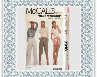 McCall's 7916 (1982) Misses' and young junior/teen pants or shorts - Vintage Uncut Sewing Pattern