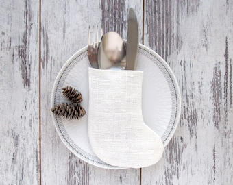 Silverware holder Christmas stocking, White burlap silverware holder, Christmas table decor, rustic cutlery holder, holiday decorations