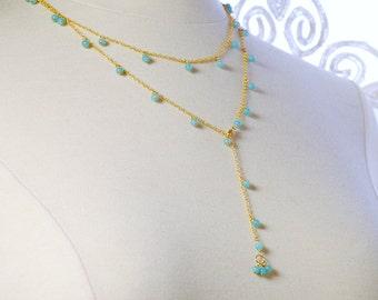 Amzonite Necklace by Agusha. Long Amazonite Necklace. LOng Gemstone Necklace. Gold Filled Necklace with Amazonite