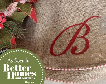 """Christmas Tree Skirt - Burlap Christmas Tree Skirt - 60""""- Large - Farmhouse Tree Skirt - Personalized Gift - Initial or Name - Fully Lined"""