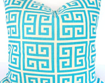 PILLOW Turquoise Throw Pillows Aqua Blue Pillow Covers Blue Throw Pillows 16x16 18 20 .All Sizes. Greek Key Pillow Covers Home Decor .Sale.