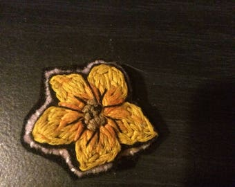 Hand embroidered flower pin