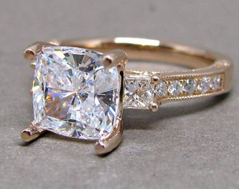 8mm Cushion Cut Forever One Moissanite Diamond Engagement Ring 14k Rose Gold 8mm Halo Colorless