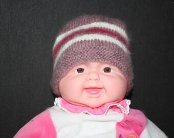 Ecru and pink cyclamen striped purple newborn Hat