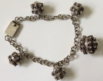 Vintage Mexican Sterling Silver Etruscan Bead Bracelet