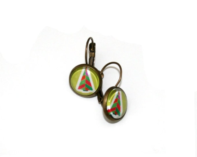 ChristmasTree Earrings, Tree Illustration Dangle Earrings