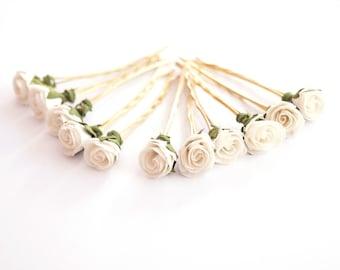 Bridal Hair Accessories, White Rose, White flower Hair Bobby Pins-set 6