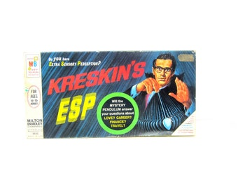 Kreskin's ESP Game Vintage Retro Game Night 1960s Family Board Game 1967 Milton Bradley 4722
