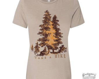 Womens Boyfriend Tee TAKE A HIKE relaxed jersey T-shirt - s m l xl xxl - Hand Screen Printed - Zen Threads + Bella Canvas 6400 custom