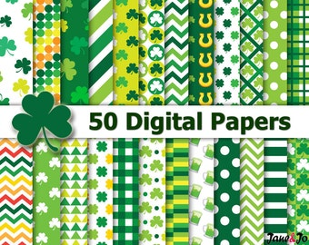 St. Patrick's Day Digital Paper,St Patricks paper,Green Digital Paper,Shamrock digital paper,Saint Patrick's Day Digital Papers,clover,