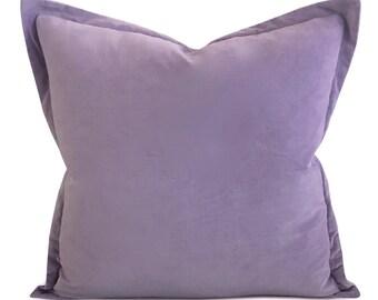 "Lilac Velvet Self Flange Decorative Pillow 22"" x 22"""