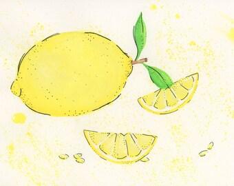 Watercolor Art - Laura's Lemon - Food Art - Watercolor Food - Splatter paint - Watercolors