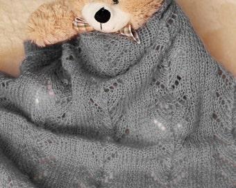Lace baby blanket, Knitting baby blanket, Lace newborn blanket in pastel colors, lap blanket, PHOTO PROP blanket
