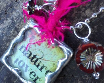 NATURE LOVER/ROSE Double Sided Soldered Charm Necklace by Susan A Ray