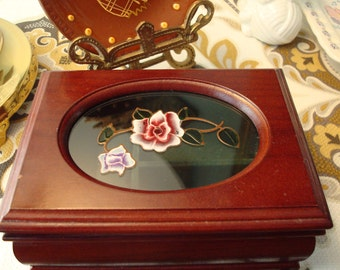 Vintage Jewelry Box - Green Velvet - Hinged Glass Lid - Raised Floral Image - Great Vintage Condition!!