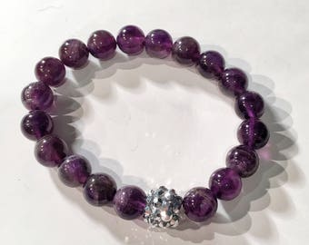 Amethyst stretchy adjustable bracelet