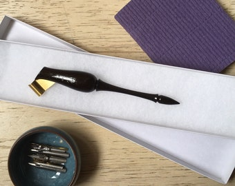 Oblique pen holder in African Blackwood, with flexible brass flange perfect for NikkoG and other nibs suitable for calligraphy