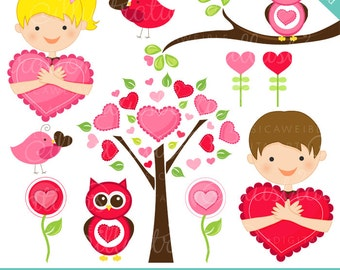 Heart Hugs Cute Valentine Graphics - Commercial Use OK - Kids Valentine Clipart, Valentine Clipart