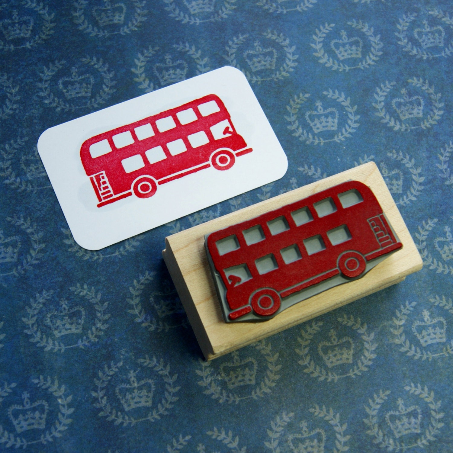 London Bus Rubber Stamp - London Transport - Red Bus Rubber Stamp ...