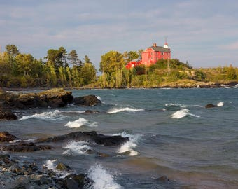 """Red lighthouse art, printable Marquette Michigan photo, INSTANT DOWNLOAD, digital copy, photos to print, 5x7 to 12x18"""" wall decor"""