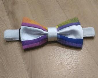 Tie bow tie size medium unisex madras blue yellow pink and white