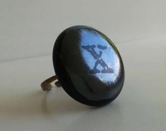 Glass ring, black silver fused glass with metal band and X print