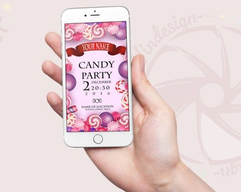 Whatsapp Invite Theme: Candy party, Sweet Party
