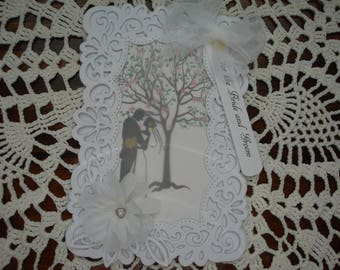 Wedding Day Card, Wedding Card, Bride and Groom, Just Married, Congratulations, 3 dimensional, Mr and Mrs, Greeting card, Handmade