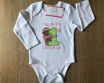 My First Christmas Gingerbread Girl Personalized Bodysuit, Shirt, Bib or Burp Cloth -  My 1st Chritsmas  with Gingerbread Baby Christmas