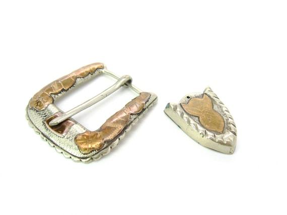 Vintage Taxco Sterling Silver Copper Ranger Belt Buckle Set