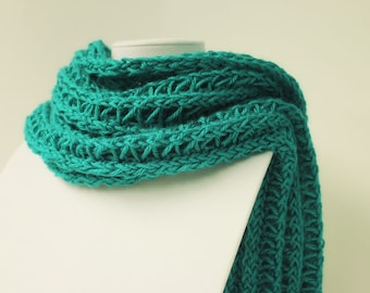 Dark Teal Scarf-Teal Knotted Scarf-Shawl Scarf-Lightweight Scarf-Fall Scarf-Hand Knitted Scarf-Loose Knit Scarf-Summer Scarf-Shoulder Wrap