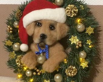 Christmas wreath with a dog  32 cm