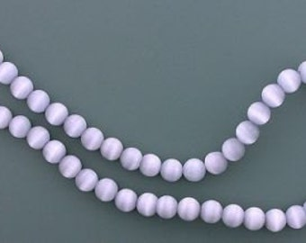 6mm silver gray round fiber optic gemstone bead strand