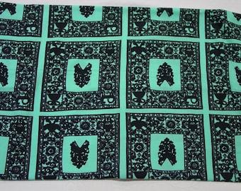 """Vintage Cotton Fabric c.1961 Blue,Black, 38"""" Wide 3 Yards, Prentiss Lane Inc. Provinciale"""