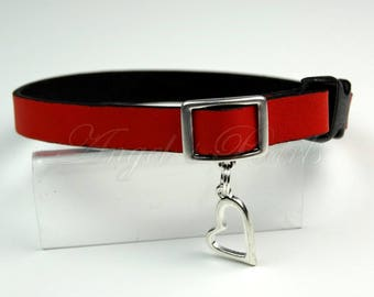 Red Calf Leather Cat Collar - Shaby - Safety Breakaway System
