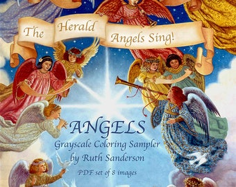 ANGELS Grayscale Coloring Collection of 8 images on PDF
