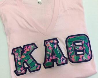 Sorority Greek Letter Shirt Light Pink Lilly Pulitzer