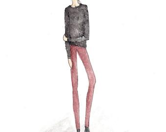 Custom Fashion Illustration, Custom Portrait From Photo, Custom Watercolor, Digital Download