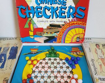 Vintage 1960s kitsch  Chinese Checkers game board in box with marbles nursery decor cardboard complete