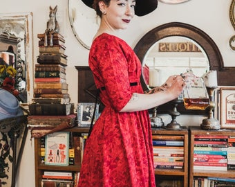 1940s / 1950s nipped waist fit and flare bright red Johnnye junior frock