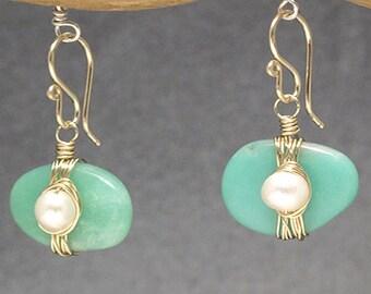 Ivory Pearls & Green Chrysoprase drop earrings Victorian 321