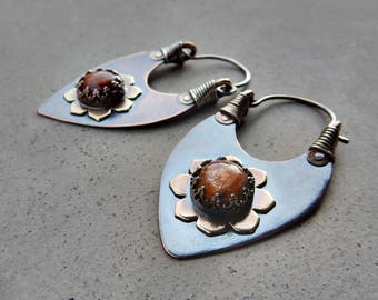 Tribal Lotus Hoops with Sunstone, Shields of Light, Joy de Vivire, Chakra Clearing, Good Fortune, Healing, Metalsmithed, Artisan Earrings