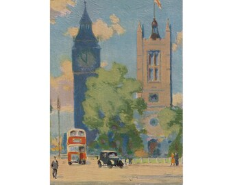 "Vintage UK postcard ""Big Ben and St. Margaret's, Westminster  Raphael Tuck & Son London Postcard No 5320"