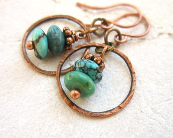 Genuine Turquoise Earrings.Natural Turquoise Semi Precious Stone & Hammered Copper Circle Dangle Earrings. Genuine Turquoise Jewelry