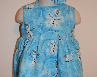 Frozen Olaf inspired Dress summer set with headband