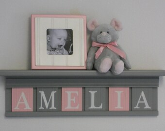 Girl name plaque etsy baby girl nursery decor personalized name shelving custom wooden letter blocks plaque signs negle Choice Image