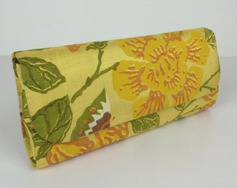 yellow floral print silk clutch 50s